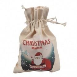1 méter krémfehér vászon kreatív karácsonyi mikulás mintás táska / Q1S1