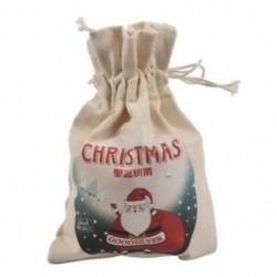 1 méter krémfehér vászon kreatív karácsonyi mikulás mintás táska / S8V4