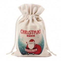 1 méter krémfehér vászon kreatív karácsonyi mikulás mintás táska / C2F2