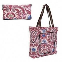 Lila levél minta - Összecsukható nagy bevásárlótáska, környezetbarát utazási újrahasznosítási táska, hordozható
