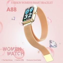 1x Divatos lány intelligens karóra Bluetooth pulzusmérő vízálló többfunkciós 1,14 hüvelykes női karkötő Android IOS