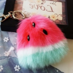 1x dinnye görögdinnye szőrme bolyhos medál gömb pompom kulcstartó kézitáska táska dísz