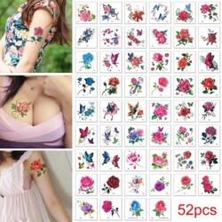 52db-os szett Ideiglenes Tetoválás - vízálló matrica - unisex - Virágos - Pillangós - Többféle mintával
