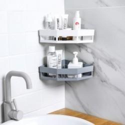 1x Műanyag sarokpolc polc Szervező  tároló fürdőszoba konyha tusoló falkosár