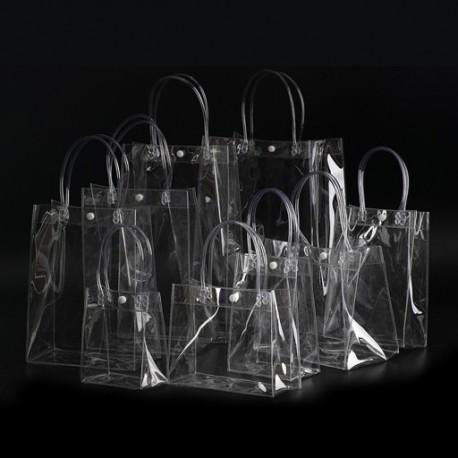 1x PVC szivárgásmentes boros ajándék táska átlátszó pezsgő tasak Több méretben