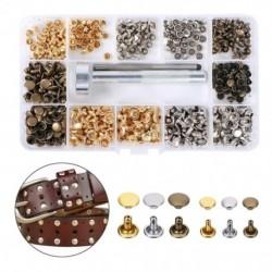 240 db szegecsek dupla kupakkal ellátott szegecs táska szíj 3 színű, 2 méretű fémcsavar, rögzítő szerszámokkal,