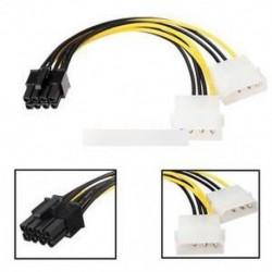 16 cm / 5 '' 8 pólusú PCI Express férfi és kettős LP4 4Pin Molex IDE tápkábel adapter