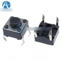 100db 6x6x5mm DIP átmenő lyuk 4pin tapintható nyomógombos kapcsoló pillanatnyi