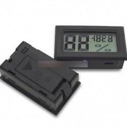 Fekete - LCD digitális hőmérséklet páratartalom hőmérő kültéri nedvességmérő hüllőmérő