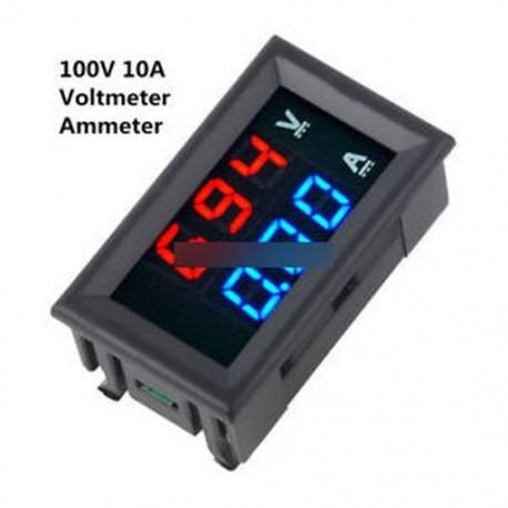 Új DC 100V 10A feszültségmérő mérőműszer kék   piros LED digitális feszültségmérő mérő