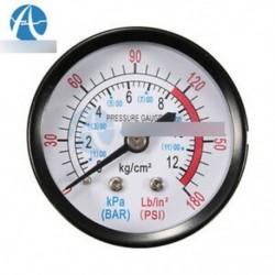1/4 BSP légkompresszor hím Menetes 0-180PSI 0-12Kg / cm2 nyomásmérő
