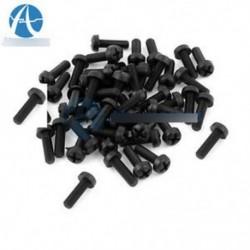 100PCS M3 x 10mm fekete nylon kerek Phillips pan fej csavarok