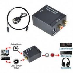 Optikai koaxiális Toslink digitális és analóg audió átalakító adapter RCA L / R 3,5 mm