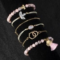 6db / szett Bohém rózsaszín bojt teknős karkötőészlet karkötő varázsa női ékszer divatos ajándék