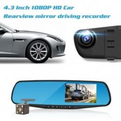4,3 hüvelykes 1080P HD autó visszapillantó tükör Dvr Teljes vezetésű videorögzítő kamera Fényképezőgép