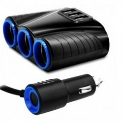 Háromutas szivargyújtó aljzat osztó 12Vos három USB töltővel ellátott adapter