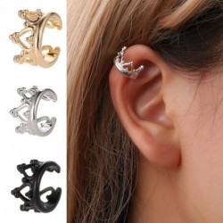 Vintage geometriai korona formájú klip fülbevaló ékszer nélkül, lyukasztott fülbevaló női
