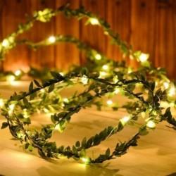 Apró levelek girland LED húros fény tündér karácsony esküvői asztali dekoráció könnyű elemmel működtetett réz
