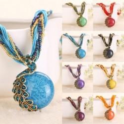 Divat gyanta kő alakú medál páva nyaklánc bohém stílusú csepegtető ékszer