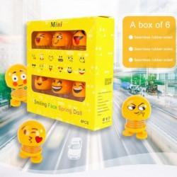 6 db / készlet aranyos hangulatjelek Mini rázó fej babák Vicces mosoly Arc rugók Tánc játékok Autó dekoráció Auto