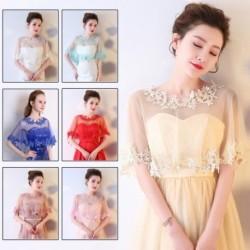 Női elegáns csipke hímzés esküvő menyasszony bál ünnep ruha tippet kendő burkolat fél meleg sál