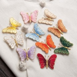 1 PCs pillangó hímzett javítások DIY szövet táska ruhák Applikált varrni jelvény kézműves