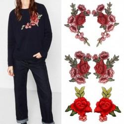 1 pár rózsával virág hímzett vasfoltokkal varrott, aplikált hímzett barkács ruhákkal