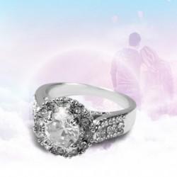 Gyönyörű kerek, kivágott, fehér cirkon gyűrűkkel, női jegygyűrű, luxus ékszerszerető ajándék