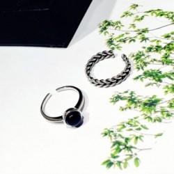 Koreai fekete fekete onyx nyitó gyűrűk csavart szőtt elegáns aranyos egyszerű ékszer lányoknak