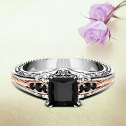 Divat ötvözet fekete cirkon esküvői gyűrű rózsaszín arany eljegyzési gyűrű ékszer női ajándékok