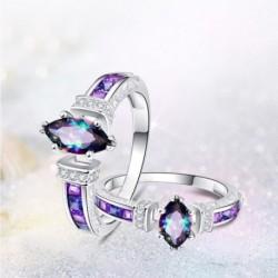 Vintage varázsa színes ovális cirkon gyűrűvel eljegyzési gyűrűk lila gyönyörű ékszer női ajándék
