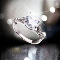 Luxus kerek fehér cirkon esküvői gyűrű varázsa eljegyzési gyűrű ékszer női ajándék