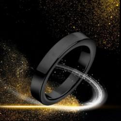 Titán acélból készült 3 mmes gyűrűs női férfi eljegyzési esküvői gyűrű, fekete