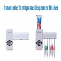 Automatikus fogkrém-adagoló 5 fogkefetartóval Fürdőszoba falra szerelhető állvány tartozékok készlet fogkrém fogkefe