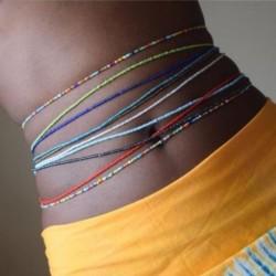 Egyszerű elasztikus színes rizs gyöngy derék lánc testlánc bikini ékszerek a nő lány