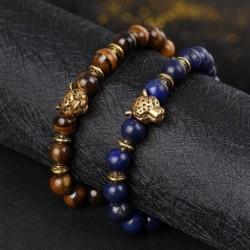 Divat természetes időjárási kő leopárd fejű gyöngyös elasztikus karkötő férfi ékszer ajándék