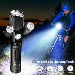 Multifunkcionális taktikai fényszóró, újratölthető, vízálló, zoomolható, kültéri kemping kirándulás elektromos