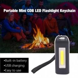 USB töltéssel hordozható Mini COB LED zseblámpa kulcstartó lámpa kemping kültéri fáklya