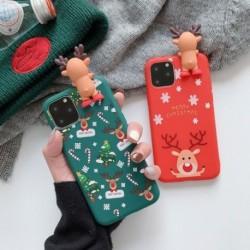 Boldog karácsonyt pároknak iPhone 11 Pro karikatúra hóember és szarvas puha hátlap tok