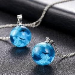 Kék ég fehér felhők sas nyaklánc kézzel készített átlátszó kristálygyanta medál nyaklánc nő ékszerek ajándék