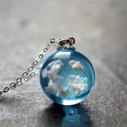 Kék ég, fehér felhő eredetiség álom elegáns egyszerű medál nyaklánc