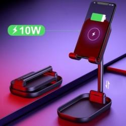 Mobiltelefon-állvány vezeték nélküli Qi töltővel, szögmagassággal állítható mobiltelefon-vezeték nélküli