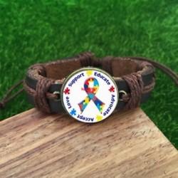 Autizmus tudatosság puzzle darab barna üvegbőr és akkord karkötő-SL814