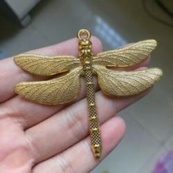 6db 63x71mm nagyméretű Dragonfly Charms antik aranyszínű ékszerkészítés