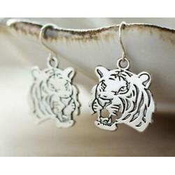Tigris fülbevalók, állati fülbevalók, heves fülbevalók, ezüst fülbevalók, modern fülbevalók
