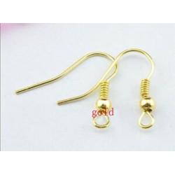arany - 2000db / tétel Divatos vas fül kampós drótkapocs gyöngyöt fülbevalókkal, fülbevalóval (8 stílus)