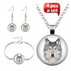 4 db nyaklánc karkötő fülbevalók készlet Charm Wolf Photo Tibet ezüst kabozon