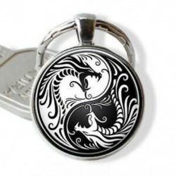 Sárkány Yin Yang kulcstartó - Yin Yang medál - Yin Yang varázsa - dragon kulcstartó