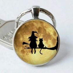 Boszorkány és macska cabochon tibeti ezüst üveg medál kulcstartó autó kulcstartó