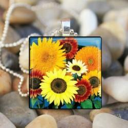 SZÍNES napraforgó tavaszi kerti virágos virágok üvegcsempe medál nyaklánc